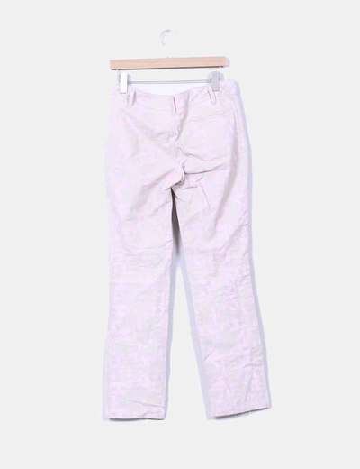 Pantalon recto estampado rosa