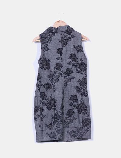 Vestido gris jaspeado estampado floral