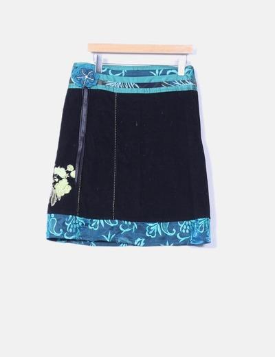 Falda midi combinada de pana Savage Culture