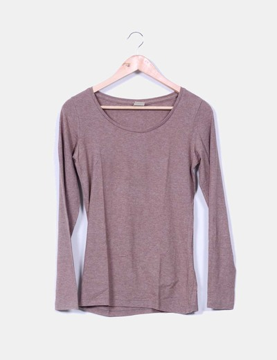 Camiseta camel jaspeada manga larga Pull&Bear