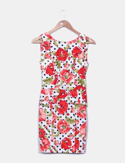 Robe motes moulante et des fleurs avec détails Suiteblanco