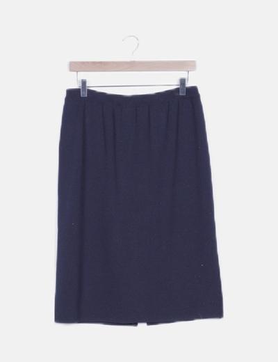 Falda midi azul marina tricot