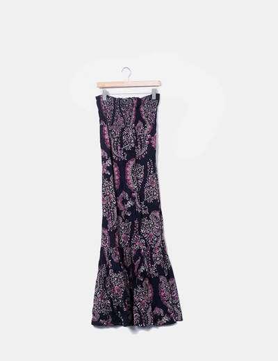 Maxi vestido negro print flora Stradivarius