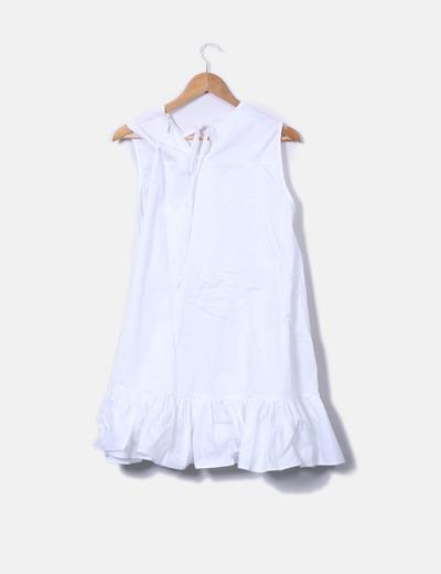 Vestido blanco evase con volante