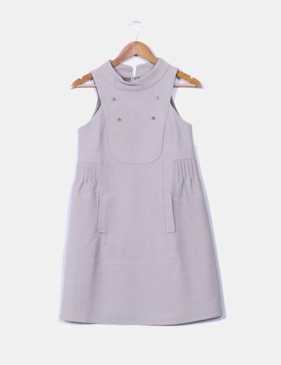 Vestido gris detalle botones Hoss Intropia