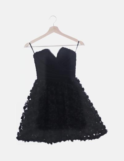 Vestido palabra de honor texturizado floral negro