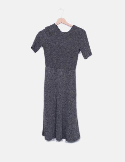Vestido tricot negro y blanco H&M