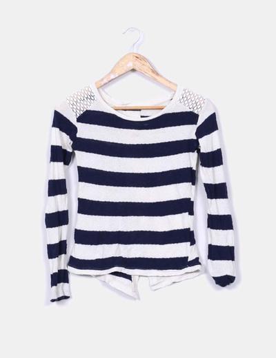 Jersey tricot rayas azules Bershka