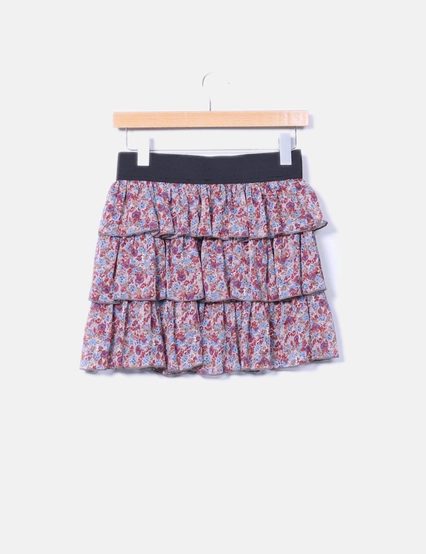 floral falda Mini online volantes Faldas Pimkie baratas SaEwq for ... b1877f0a3244
