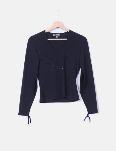 Blusa negra con strass Alicia Rueda