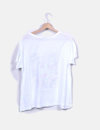 Camiseta blanca print pizza