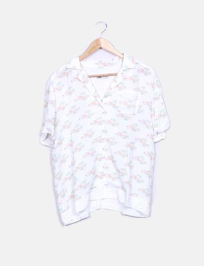 Camisa blanca manga corta estampada New man