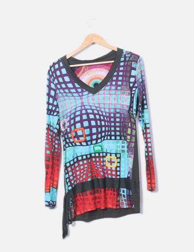 Camiseta multicolor d manga larga