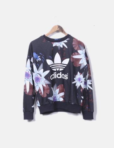 Sudadera negra floral Adidas