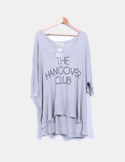 Camiseta oversize gris print 'The hangover club'