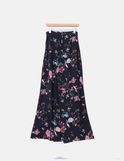 Pantalon recto negro estampado floral