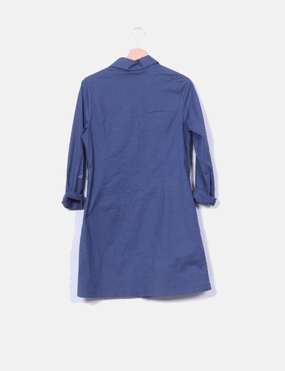 Vestido cruzado azul marino con bordados