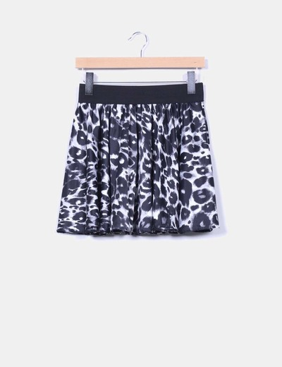 Falda animal print satinada con cinturilla New Look