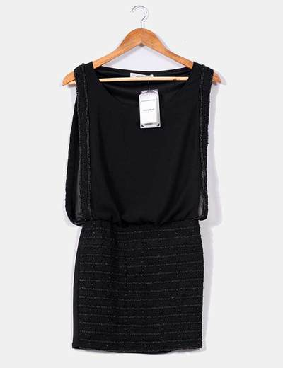 Vestido negro de gasa con piedras Pull&Bear