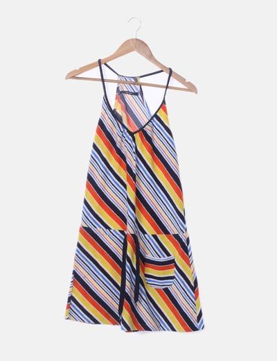 Vestido de rayas multicolor