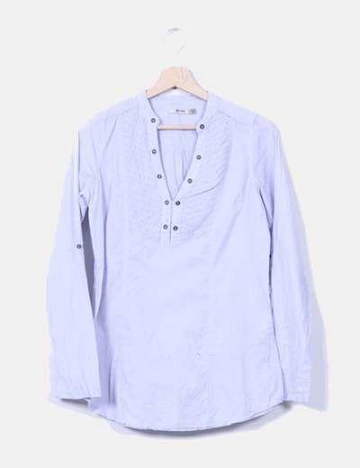 Camisa azul celeste manga larga Stradivarius