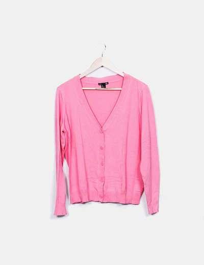 Cárdigan rosa cuello pico H&M