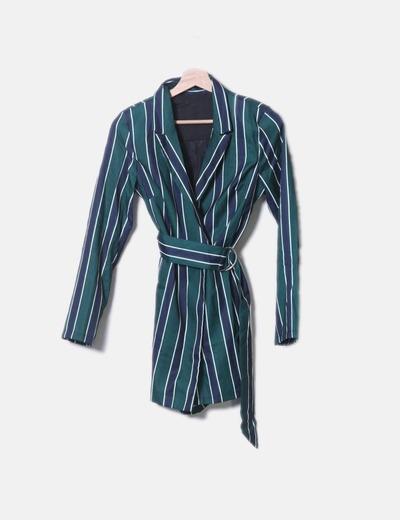 Blusa a righe incrociata con cintura NoName