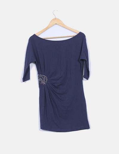 Vestido azul marino manga frances detalle tachas