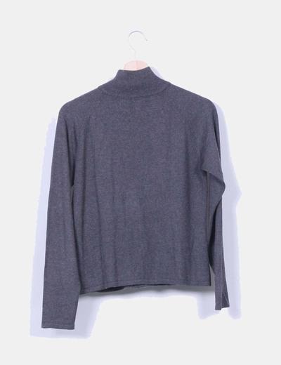 Chaqueta tricot gris con cremallera