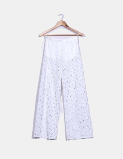 Pantalón recto blanco troquelado Zack