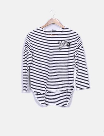 como escoger estilo de moda de 2019 pulcro Camiseta de rayas con pedrería