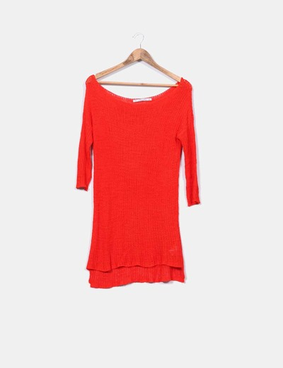 Suéter ganchillo naranja butano  Zara