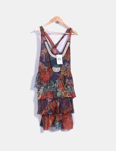 Vestido con estampado multicolor detalle pedrería Desigual