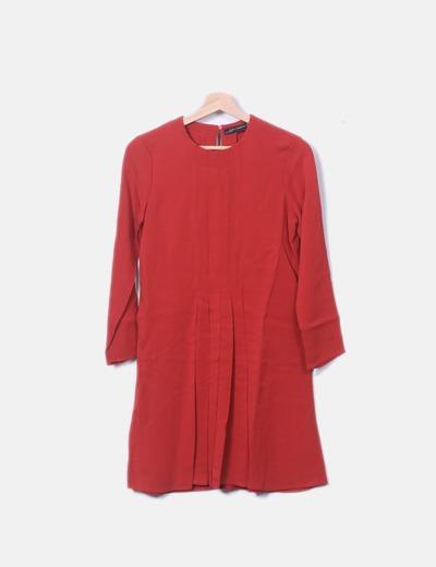 Vestido vermelho de manga comprida Zara