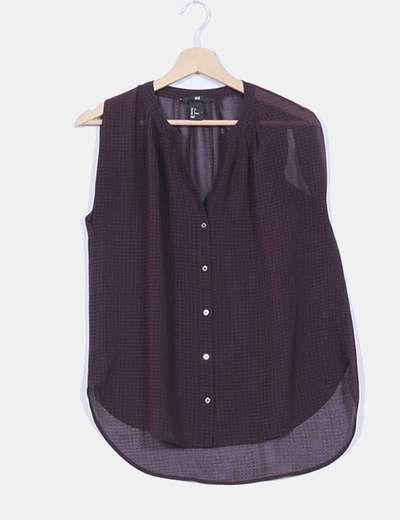 Blusa burdeos fluida de cuadros transparente H&M