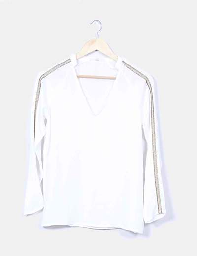 Blusa blanca con paillettes doradas Love & Money