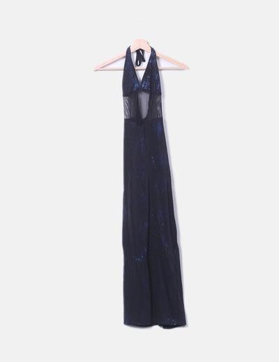 Vestido halter negro glitter