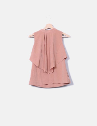 Blusa con volante naranja pastel H&M