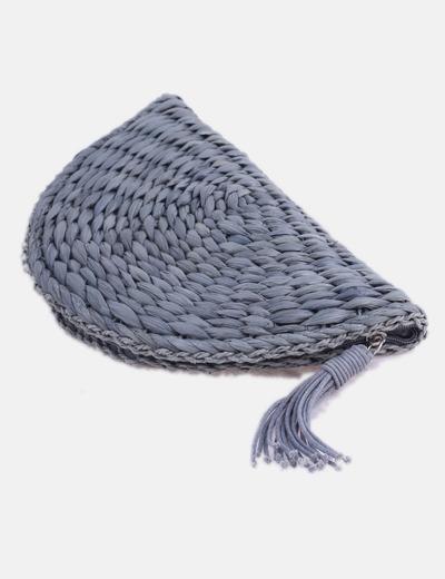 Bolso de mano rafia gris con borla