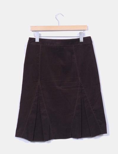 Falda midi marron de micropana