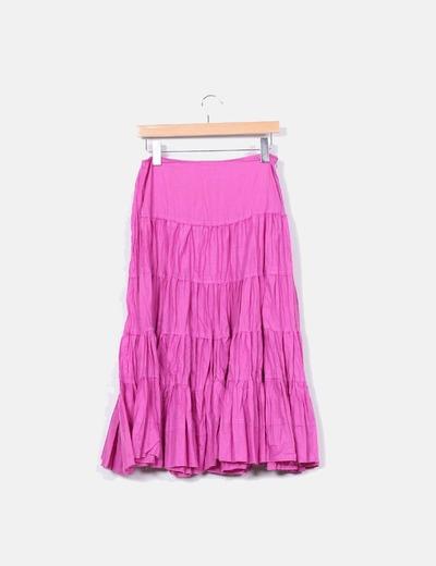 Falda de volantes rosa