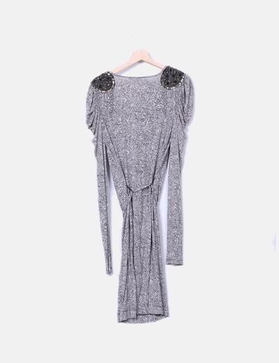 Vestido estampado con pailettes