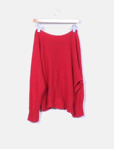 Jersey de punto rojo oversize