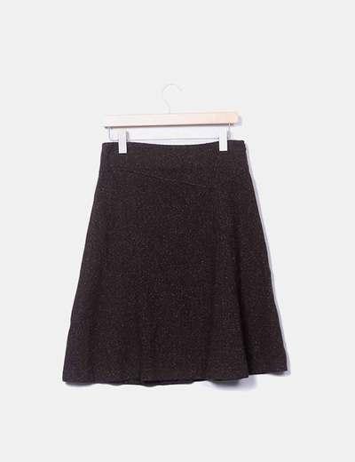 Falda midi tweed marrón Massimo Dutti