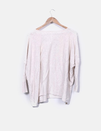 Jersey tricot beige detalle tachas