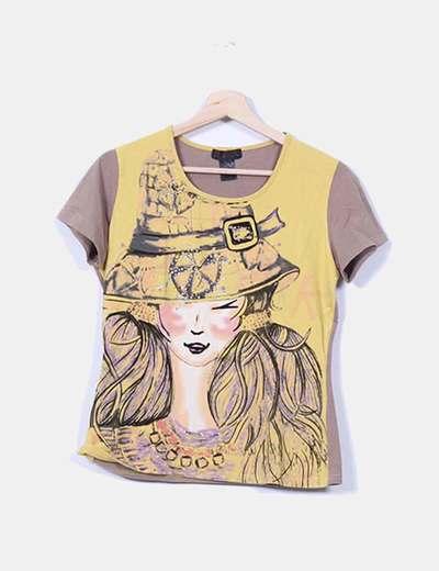 Camiseta marrón y amarilla estampada Custo Barcelona