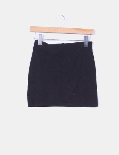 Mini falda elástica negra H&M