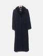 Abrigo largo negro con cuello de pelo Zara
