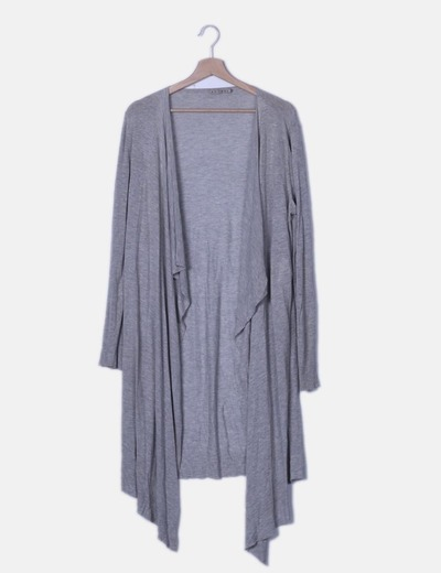 Maxi chaqueta fluida tricot gris