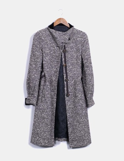 Abrigo largo tweed blanco y negro Carolina Herrera
